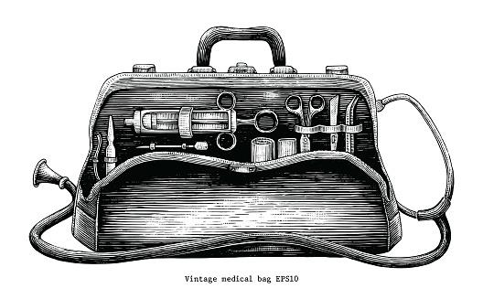 Vintage medical bag hand drawing engraving style