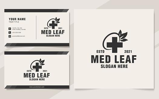Vintage medical leaf emblem template monogram style