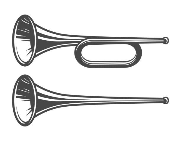 vintage mittelalterlichen trompeten vorlage - fanfare stock-grafiken, -clipart, -cartoons und -symbole