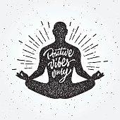 Vintage Meditation apparel print t-shirt design