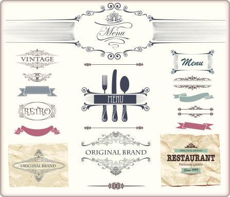 Vintage menu design elements featuring fleur-de-lis scrolls