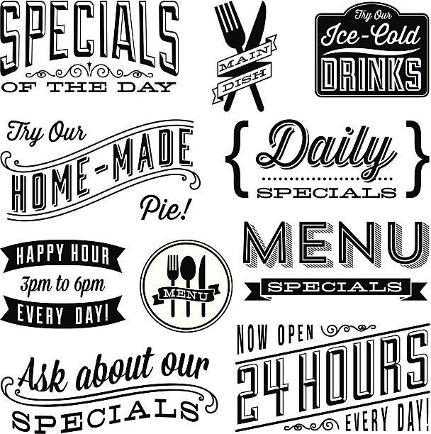 bildbanksillustrationer, clip art samt tecknat material och ikoner med vintage menu designs - restaurang