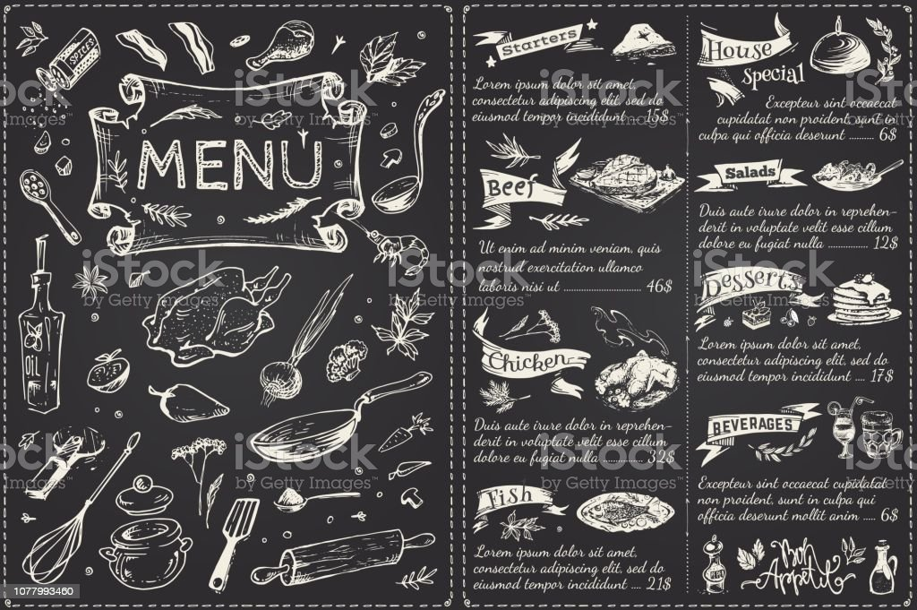 Vintage menu main page design. Hand drawn food sketches isolated on black chalk board for restaurant or cafe decoration. Vector banner royalty-free vintage menu main page design hand drawn food sketches isolated on black chalk board for restaurant or cafe decoration vector banner stock illustration - download image now