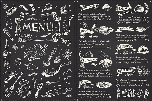 Vintage menu main page design. Hand drawn food sketches isolated on black chalk board for restaurant or cafe decoration. Vector banner clipart