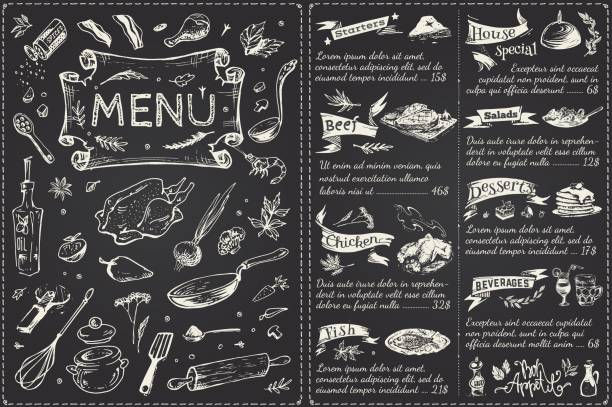 Vintage menu main page design. Hand drawn food sketches isolated on black chalk board for restaurant or cafe decoration. Vector banner Vintage menu main page design. Hand drawn vector cooking drawings stock illustrations