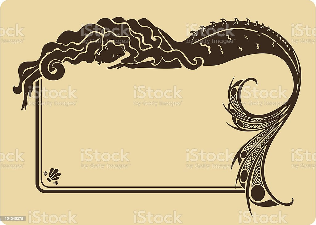 Vintage mermaid frame. vector art illustration