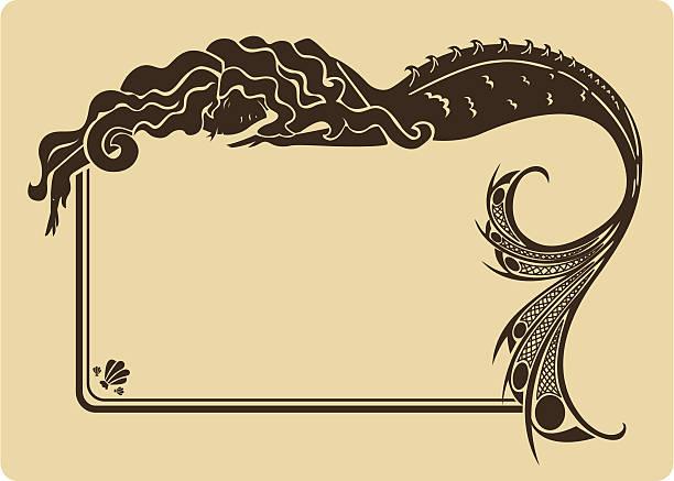 Vintage mermaid frame. vector art illustration