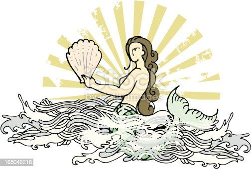vintage mermaid over oriental waves