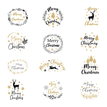 Vintage Merry Christmas and Happy New Year calligraphic and typographic background.