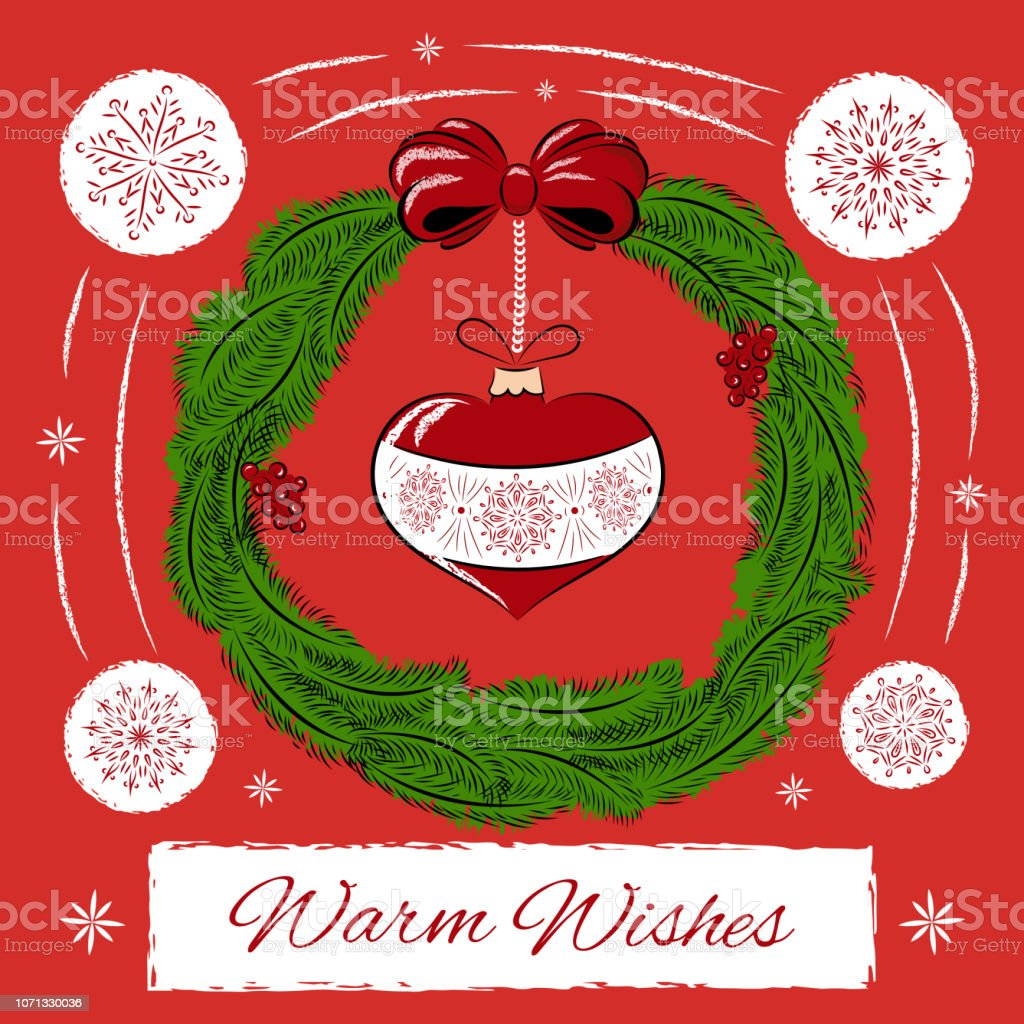 Vintage Merry Christmas Card Design Template Vector Warm Wishes Holiday Red Background Season Wreath With Heart Ball And Snowflakes Retro New Year Illustration For Web Banner Greeting Party Stock Illustration Download