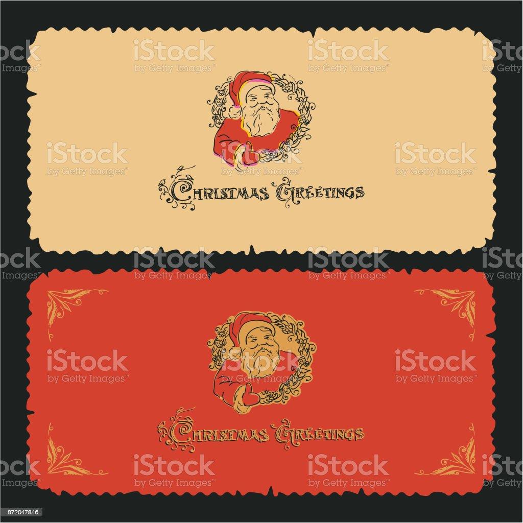 Vintage Weihnachtskarte Zeichnung Weihnachtsmann Und Weihnachtsgrüße ...