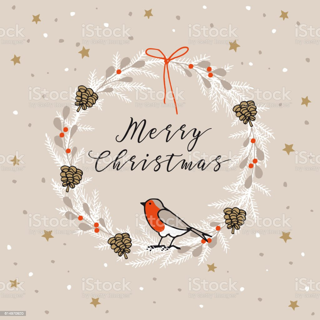Vintage Merry Christmas Happy New Year Greeting Card With Finch