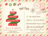 Vintage Merry Christmas holiday postcard background vector template