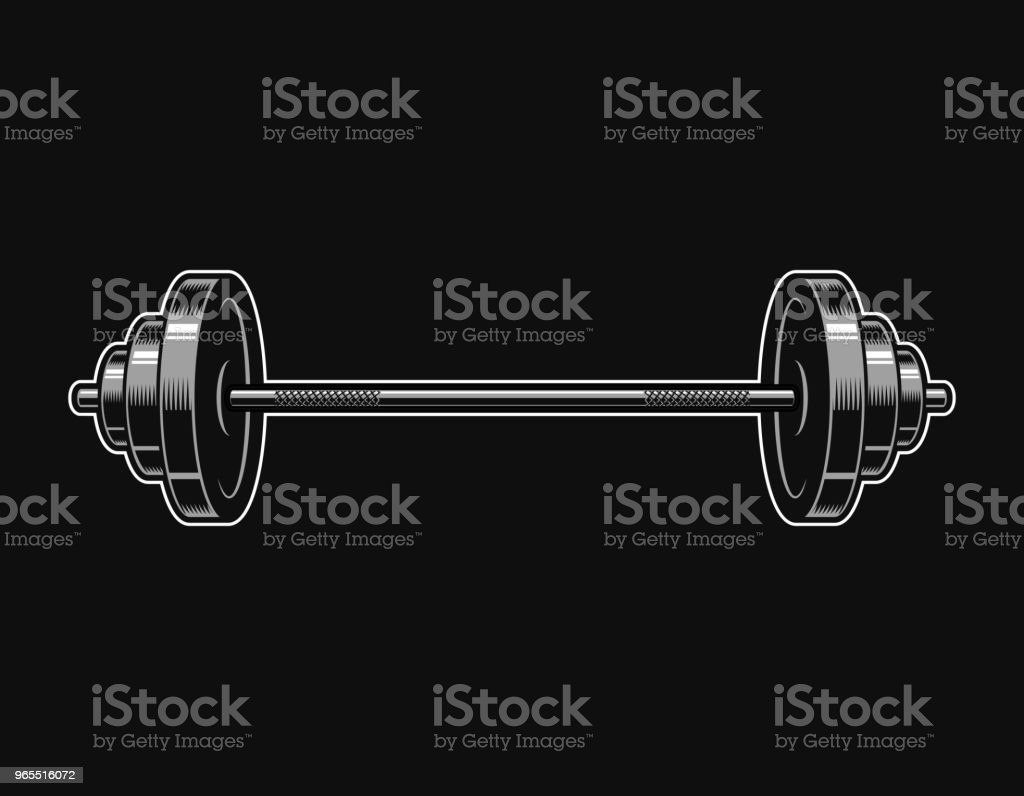 Vintage metal barbell icon vector art illustration