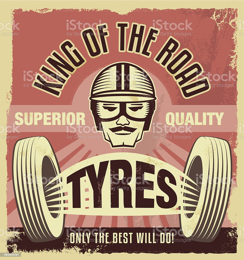Vintage metal sign - Retro garage tin poster vector art illustration