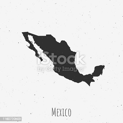 Black and white Mexico map in trendy vintage style, isolated on a dusty white background. A grunge texture is used to have a retro and worn effect. His name is written on the bottom of the image. Vector Illustration (EPS10, well layered and grouped). Easy to edit, manipulate, resize or colorize.