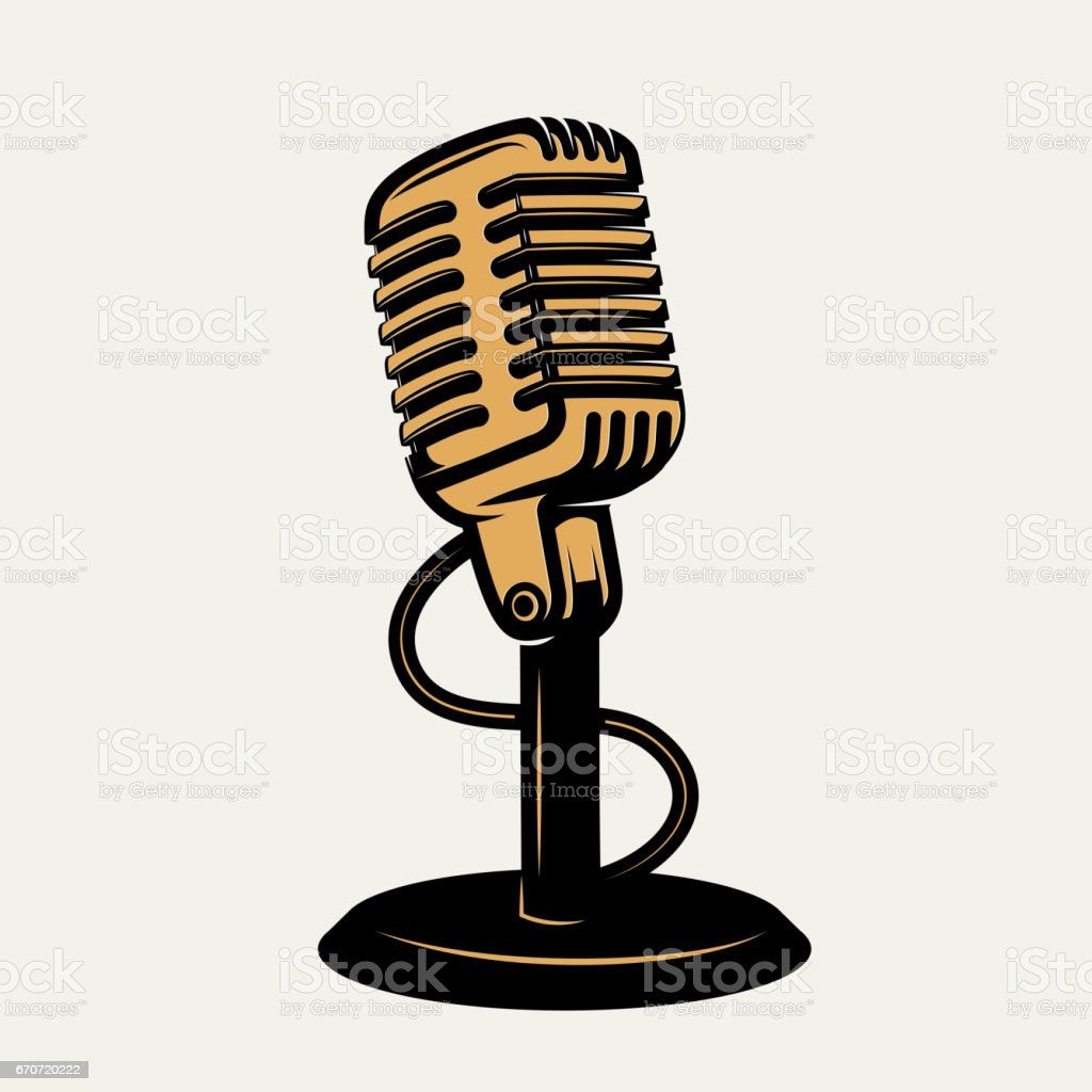 vintage microphone icon isolated on white background. Design elements for icon , poster, emblem, sign. Vector monochrome illustration