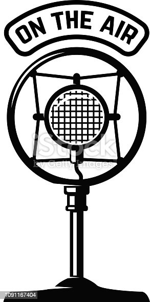 Vintage microphone icon on white background. Design element for label, emblem, sign. Vector illustration