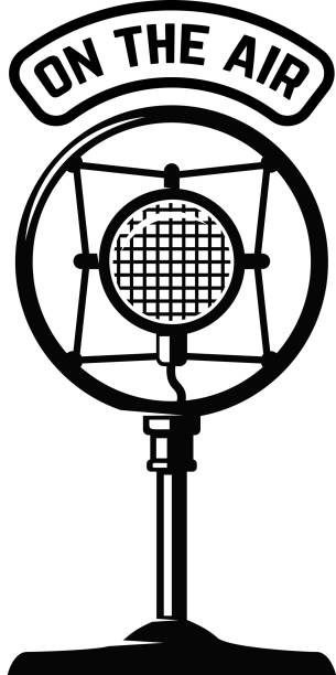ilustrações de stock, clip art, desenhos animados e ícones de vintage microphone icon on white background. design element for label, emblem, sign. - radio
