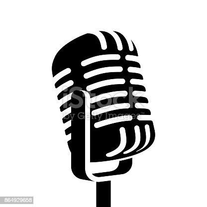istock Vintage microphone sign vector illustration 864929658