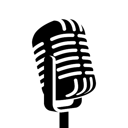Vintage retro black microphone sign vector illustration isolated on white background