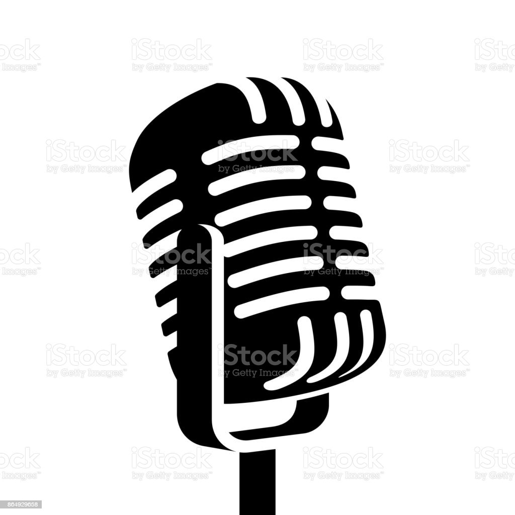 Vintage microphone sign vector illustration vector art illustration