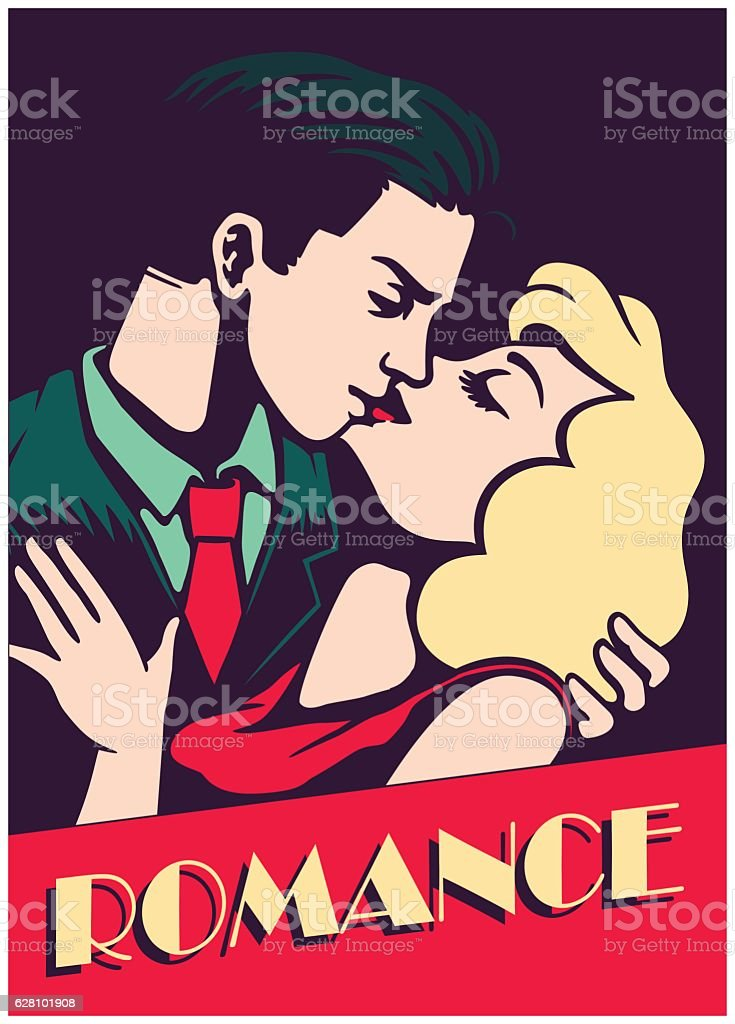 Vintage mid-century lovers couple kissing romance valentine's day vector illustration vector art illustration