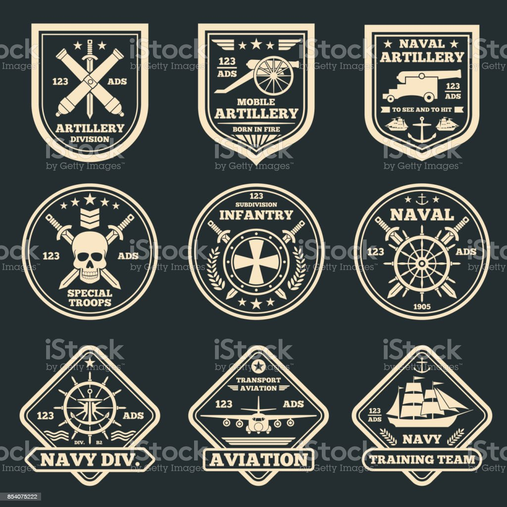 Vintage military and army vector emblems, badges and labels vector art illustration