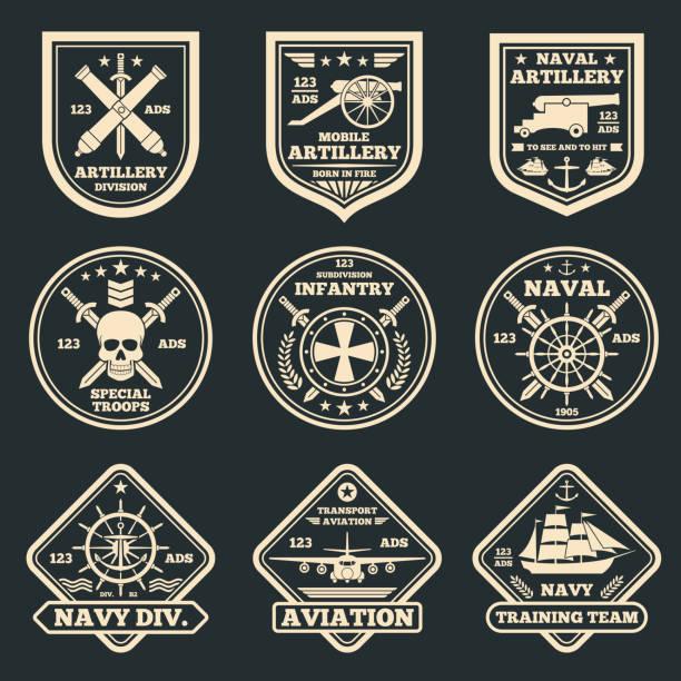 ilustrações, clipart, desenhos animados e ícones de vintage militar e exército vector emblemas, emblemas e etiquetas - forças armadas