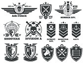 Vintage military vector labels and patches. Emblem and military badge, patch insignia for army and military air force illustration