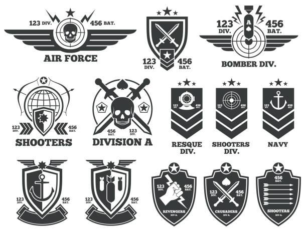ilustrações, clipart, desenhos animados e ícones de vintage military vector labels and patches - forças armadas