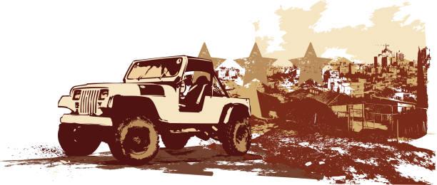 vintage military vehicle vector art illustration