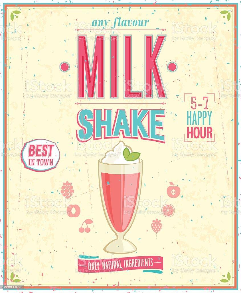 Vintage MilkShake Poster. vector art illustration