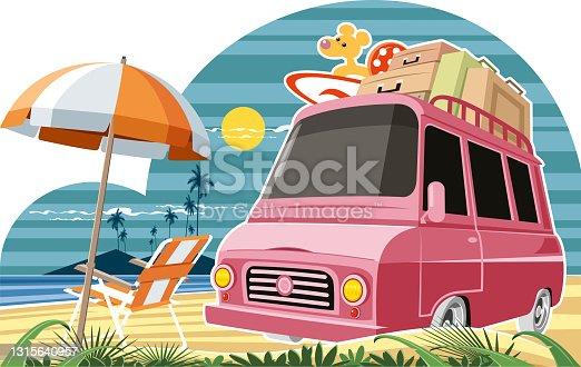 Vintage minibus and beach