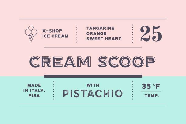 illustrazioni stock, clip art, cartoni animati e icone di tendenza di vintage minimal label. set of graphic modern vintage label - gelato confezionato