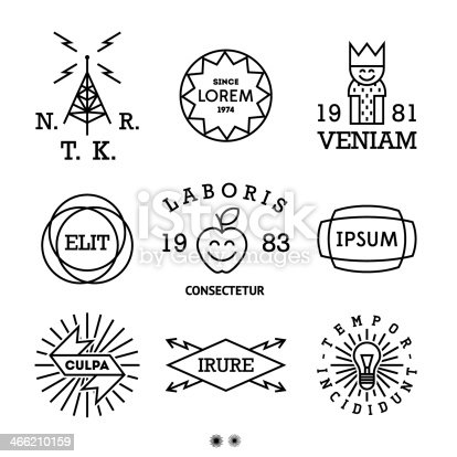vintage minimal labels with king, shield, cow