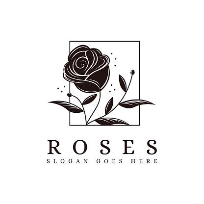 Vintage minimalist framed rose flower vector icon on white background
