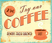 Vintage coffee tin sign lot's of texture and wear