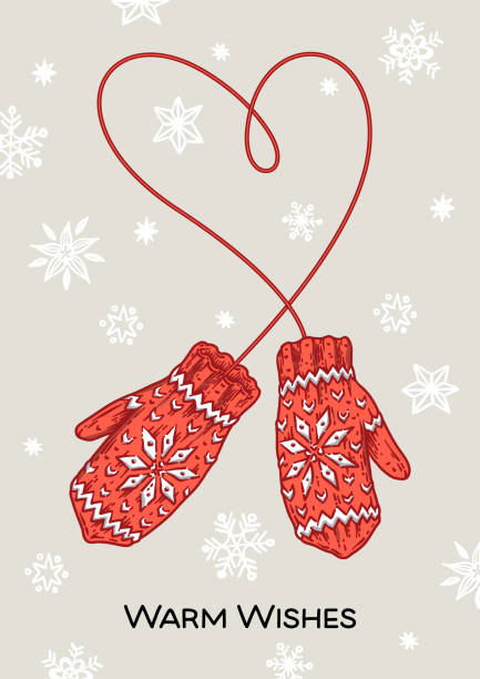 Vintage mittens with warm wishes inscription Vector sketch illustration for greeting card, banner, website and holiday decor mitten stock illustrations