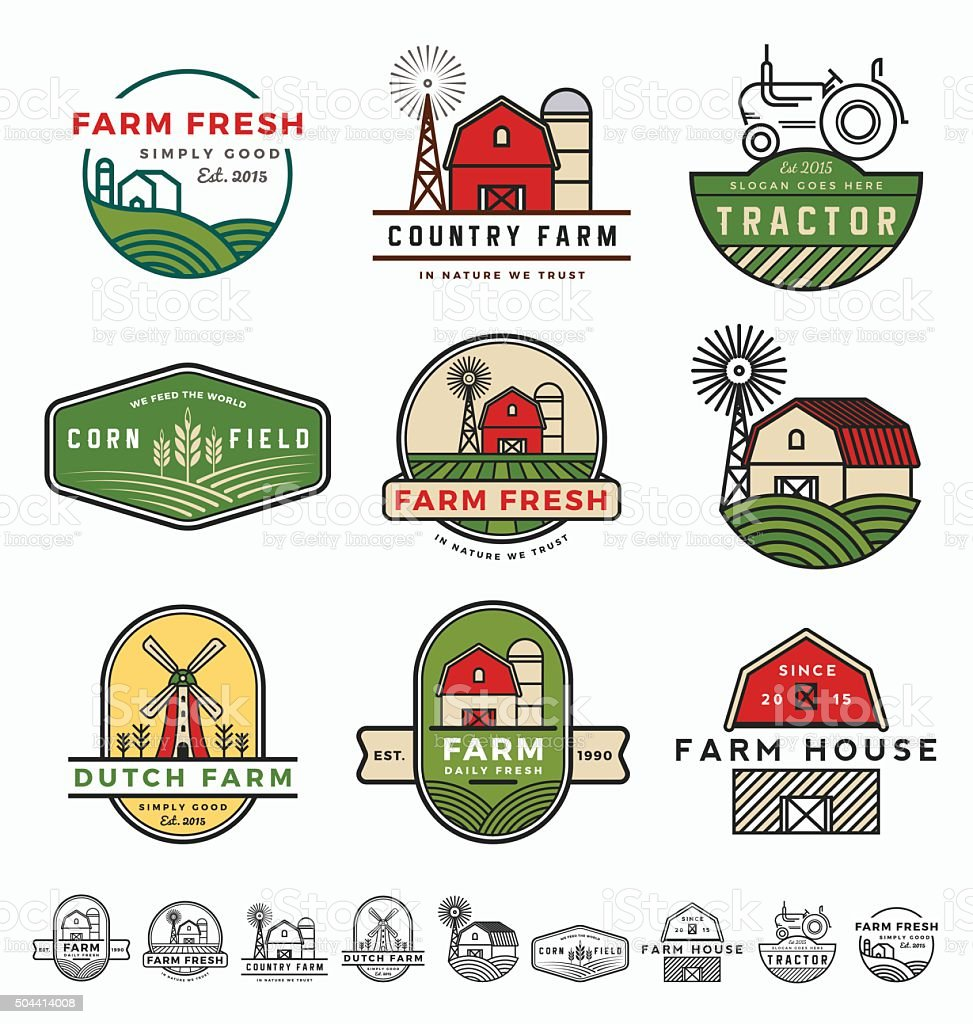 Vintage modern farm logo vector art illustration