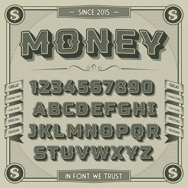 vintage money font with shadow - money 幅插畫檔、美工圖案、卡通及圖標