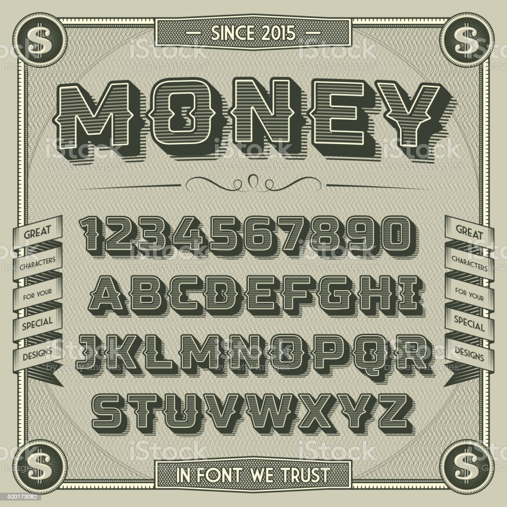 Vintage Money Font with shadow vector art illustration