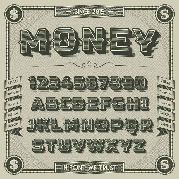 vintage money font with shadow - money stock illustrations