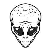 Vintage monochrome alien face concept