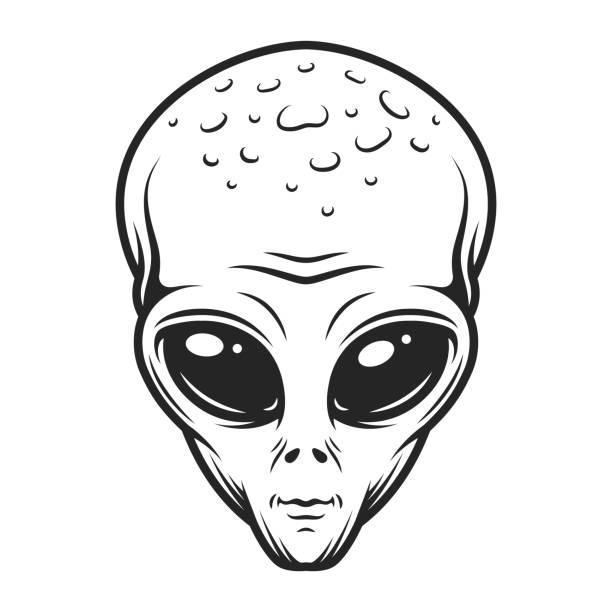Vintage monochrome alien face concept vector art illustration