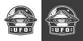 Vintage monochrome alien spaceship space emblem isolated vector illustration