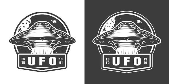 Vintage monochrome alien spaceship space emblem