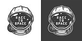 Vintage monochrome astronaut helmet space emblem isolated vector illustration