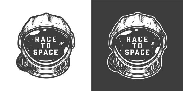 stockillustraties, clipart, cartoons en iconen met vintage monochrome astronaut helm ruimte embleem - ruimte exploratie