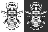 Vintage monochrome barbershop label with bearded skull in viking helmet and crossed razor blades isolated vector illustration
